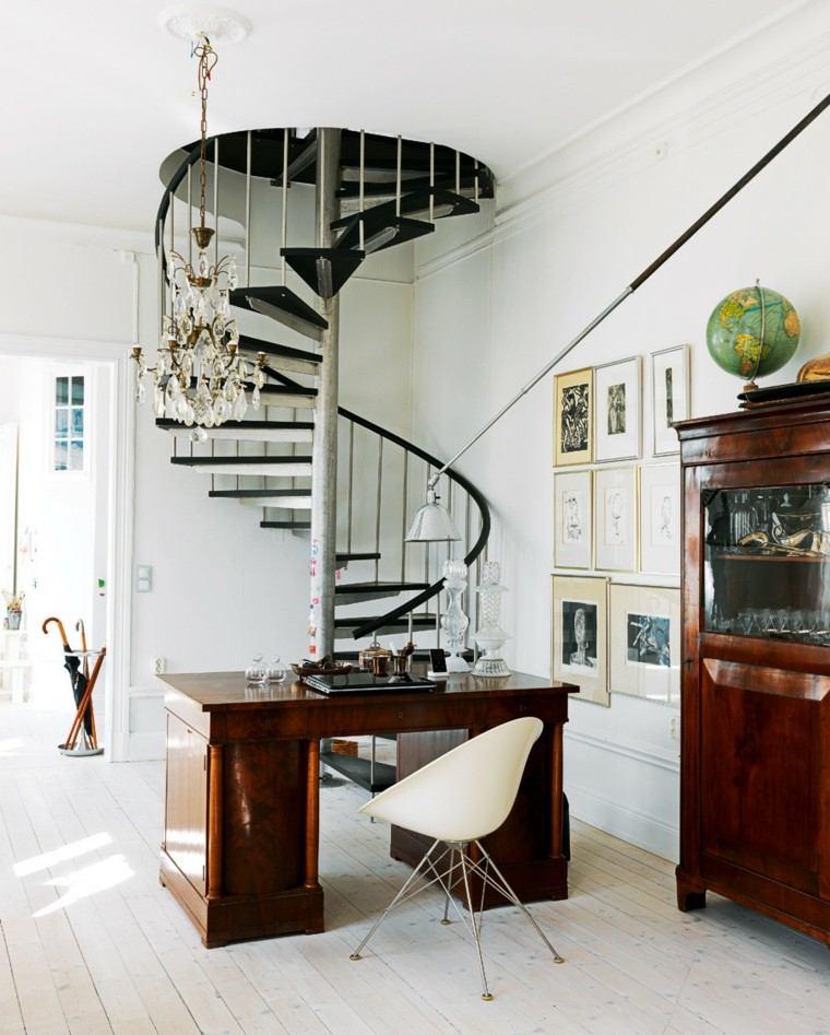 escritorio madera lacada escalera caracol