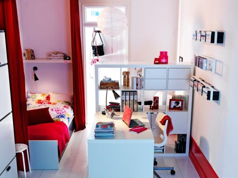espacio decoracion rojo cama pequeña