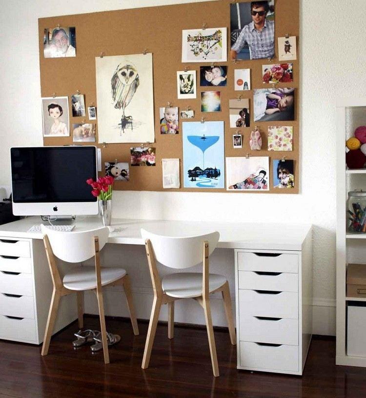 espacio mesa blanca mural fotos
