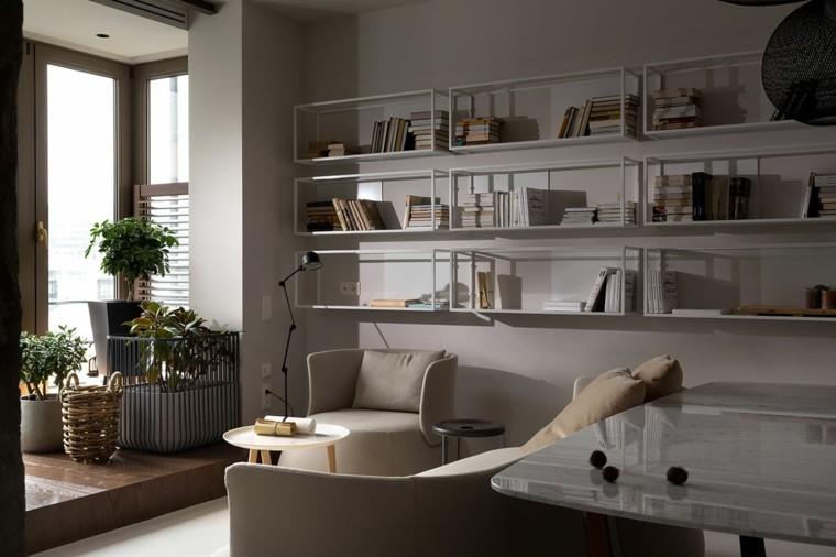 diseño estantes metalicos color blanco