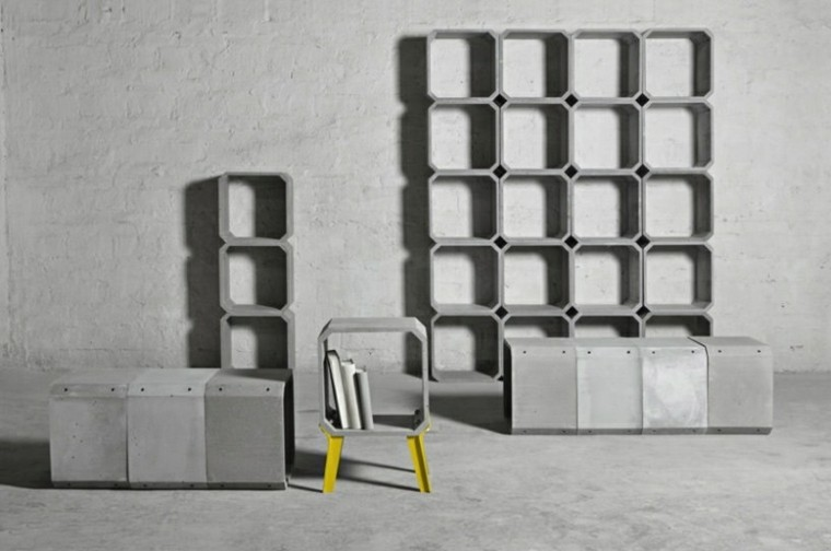 estantes modernos cubos hormigon Zhi