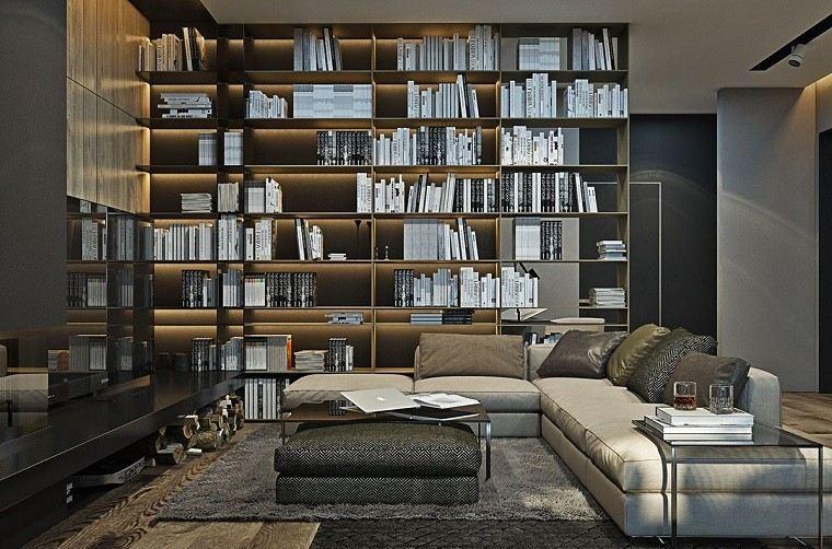 estetica funcionalidad apartamento moderno chimenea estantes suelo pared salon ideas