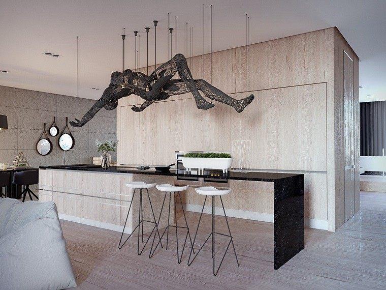 estetica funcionalidad apartamento moderno cocina isla figura impacto ideas