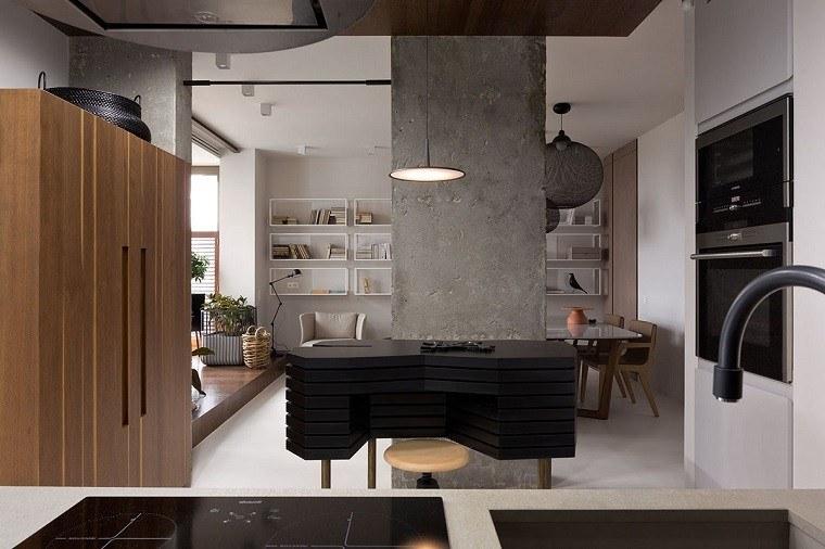 estetica funcionalidad apartamento moderno cocina isla negra ideas