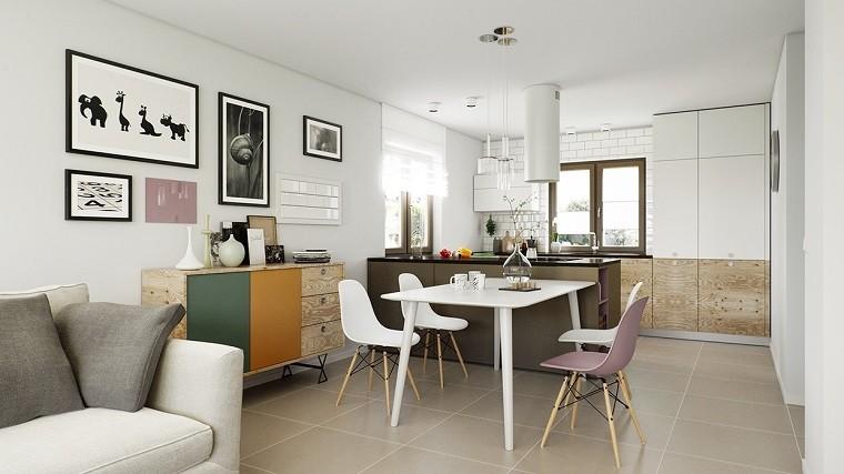 estetica funcionalidad apartamento moderno cuadros pared comedor