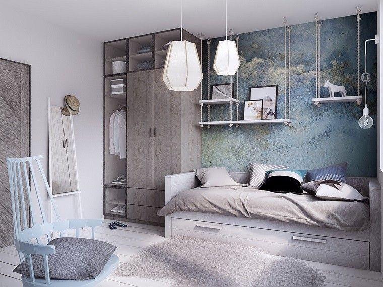 estetica funcionalidad apartamento moderno dormitorio azul claro estantes preciosos ideas