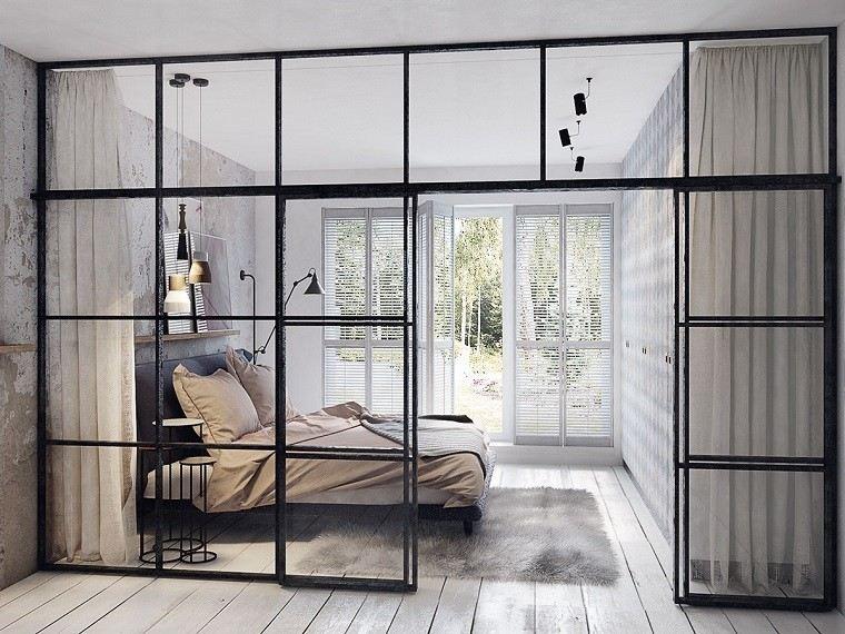 estetica funcionalidad apartamento moderno dormitorio pared cristal ideas