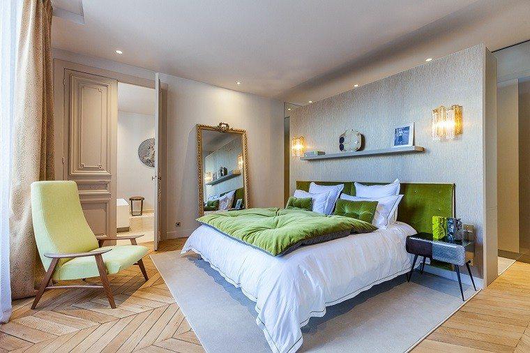 estetica funcionalidad apartamento moderno dormitorio toques verde ideas