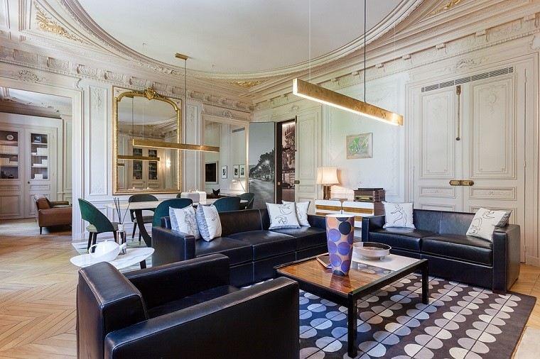 estetica funcionalidad apartamento moderno lamparas salon muebles cuero ideas