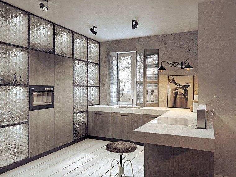 estetica funcionalidad apartamento moderno panles cristal cocina ideas