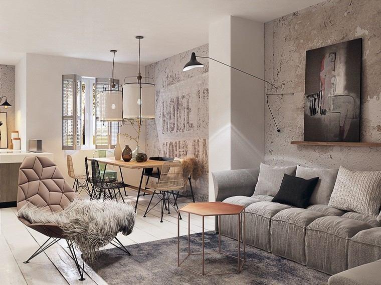 estetica funcionalidad apartamento moderno salon estante cuadro ideas