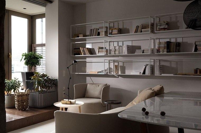 estetica funcionalidad apartamento moderno salon estanterias blancas ideas