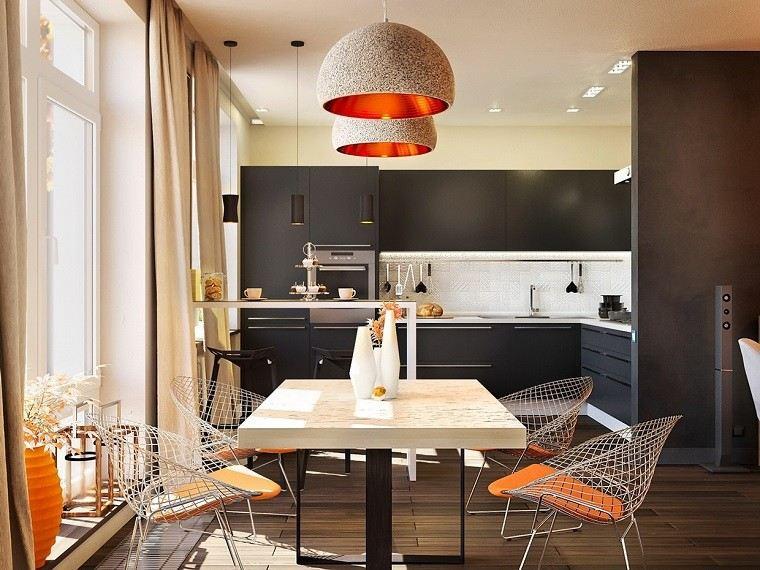 estetica funcionalidad apartamento moderno sillas acero jarron naranja ideas