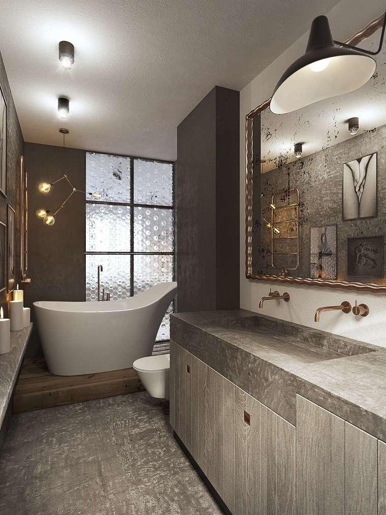 estetica funcionalidad apartamento moderno toques oro banera blanca ideas