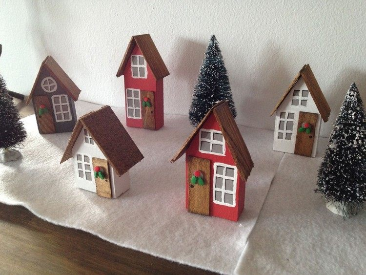 decoracion navideña estilo escandinavo casitas arboles navidad ideas
