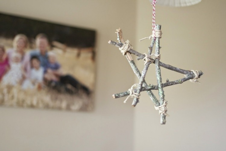 decoracion navideña estilo escandinavo estrella colgando techo ideas