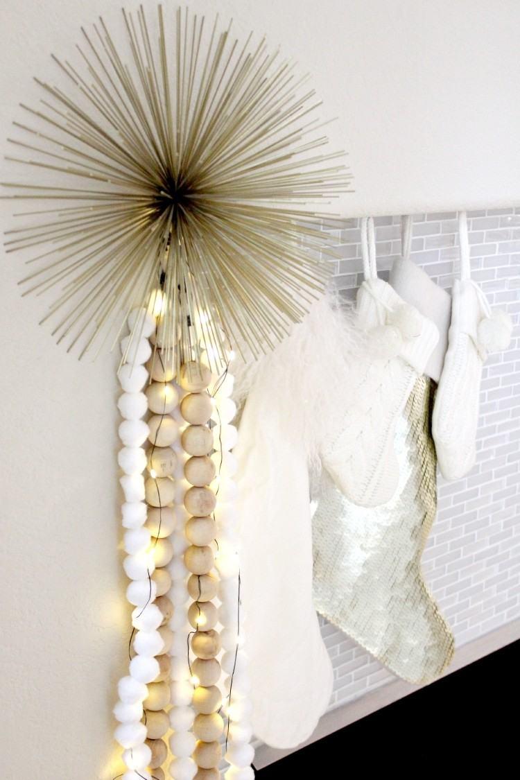 estilo escandinavo decoracion navidad guirnalda bolas madera ideas