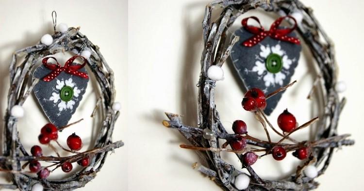 estilo escandinavo decoracion navidad guirnalda ramas corazon ideas
