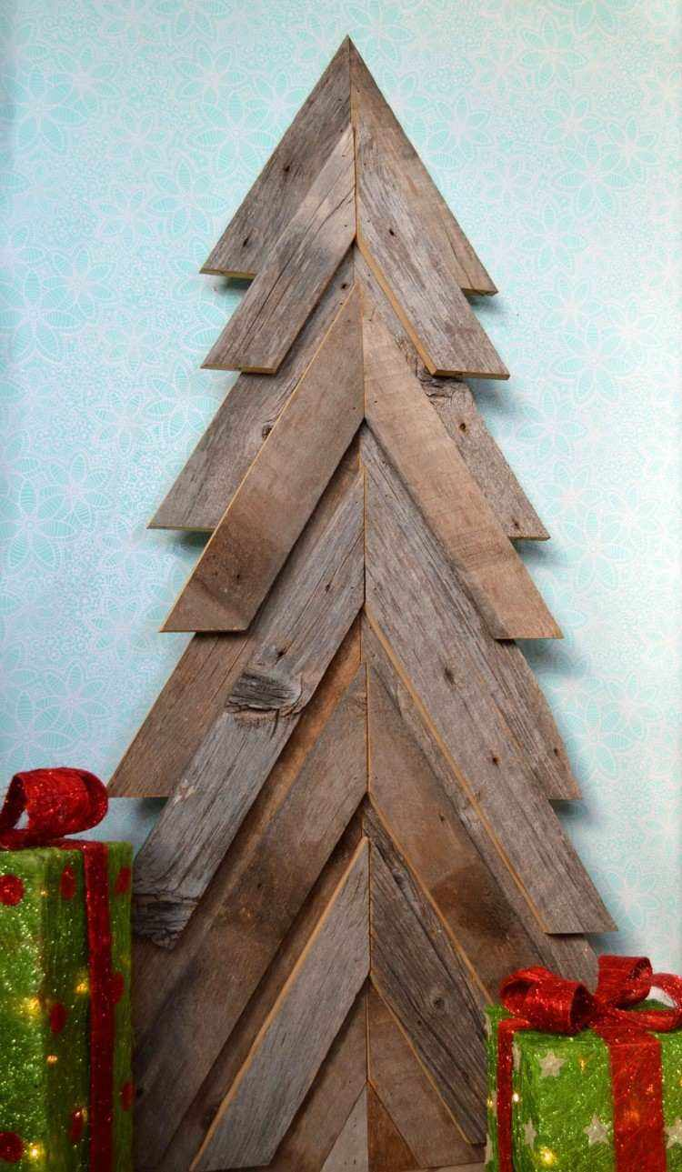 estilo escandinavo decoracion navidad laminas madera pared ideas