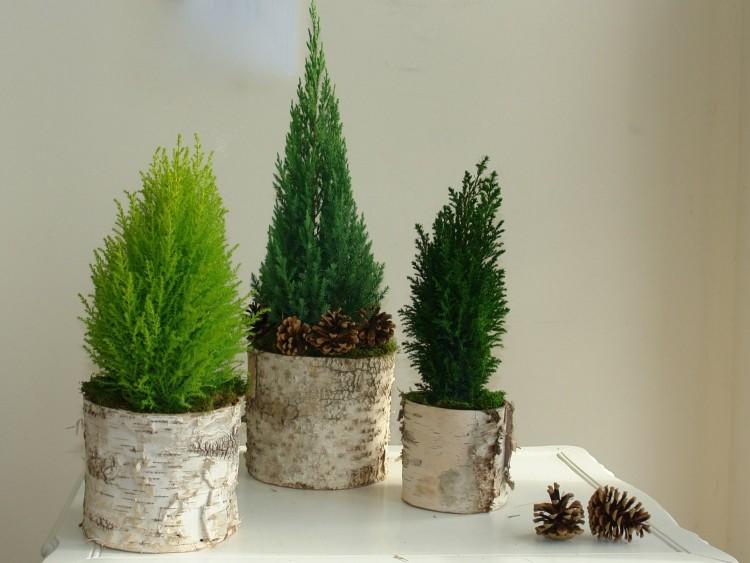 estilo escandinavo decoracion navidad macetas preciosas ideas