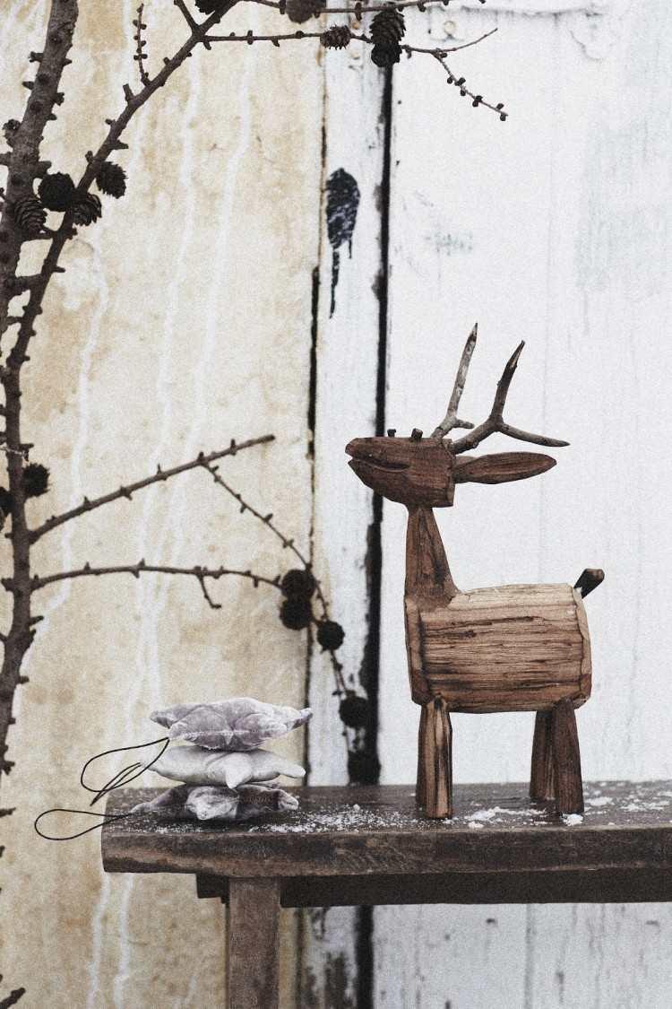 estilo escandinavo decoracion navidad reno madera precioso ideas