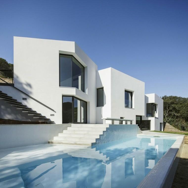 estilo minimalista escaleras hormigon blanco ideas