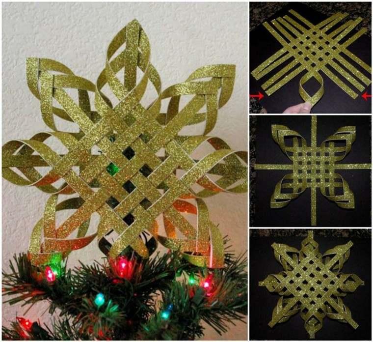 estrella navidad hecha tiras doradas