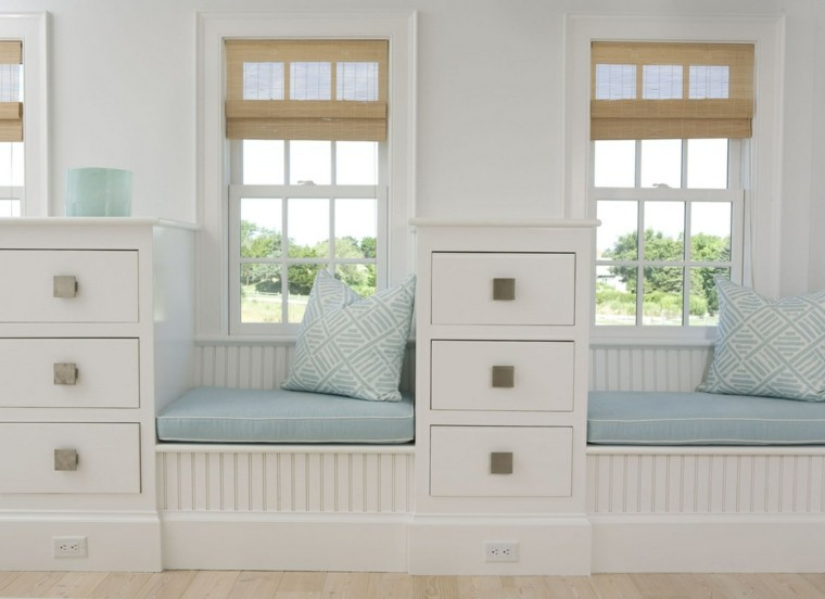 estupendo diseño ventanas asientos celeste