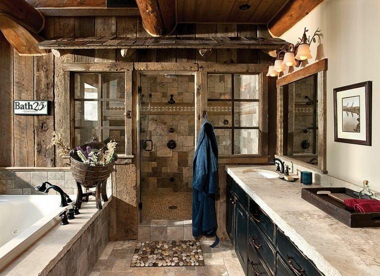 estuopendo diseño baño piedra madera