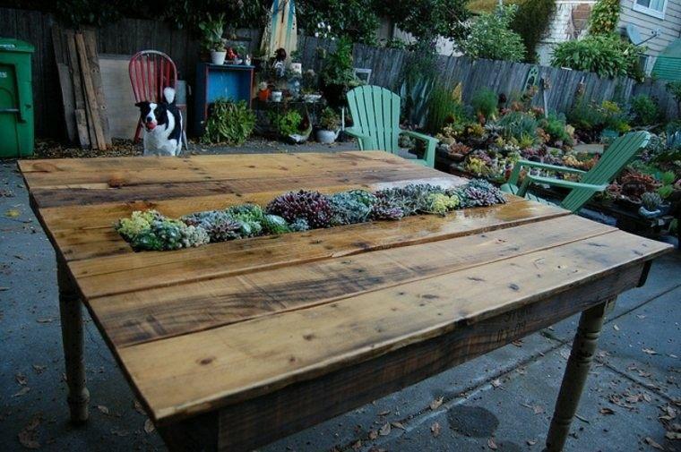estupenda mesa plantas jardinera central