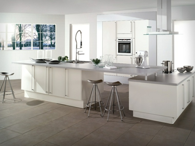 estupendo diseño cocina blanca acero