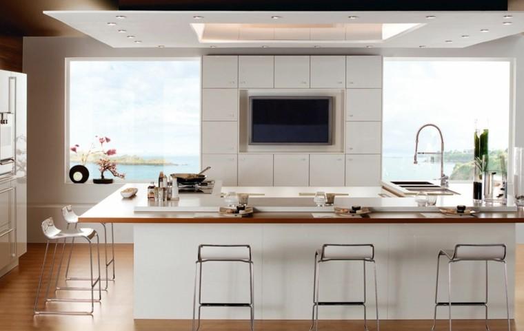 estupendo diseño cocina blanca madera