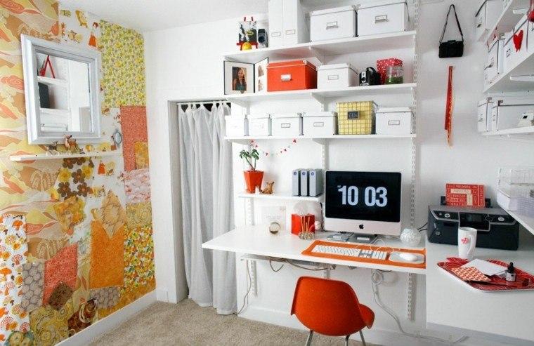 estupendo diseño escritorio juvenil naranja