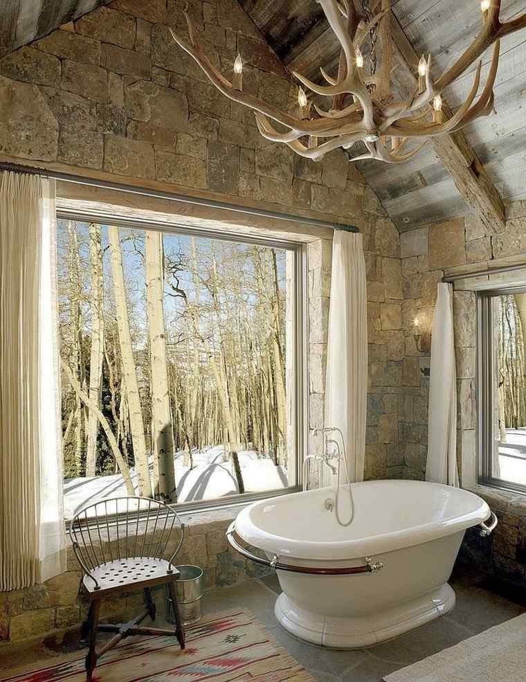 estupendos diseños cuartos de baño rusticos cuernos