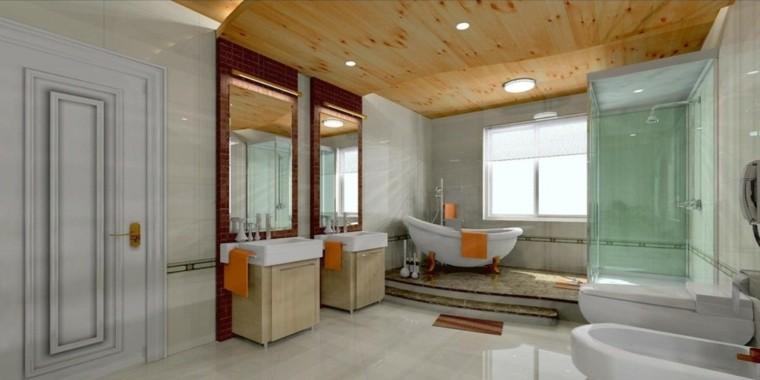 baño falso techo madera pino