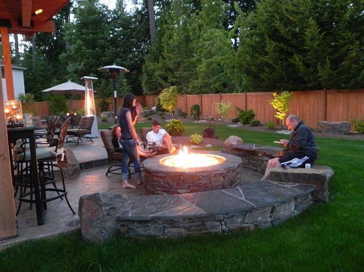 family bonfire space design patio