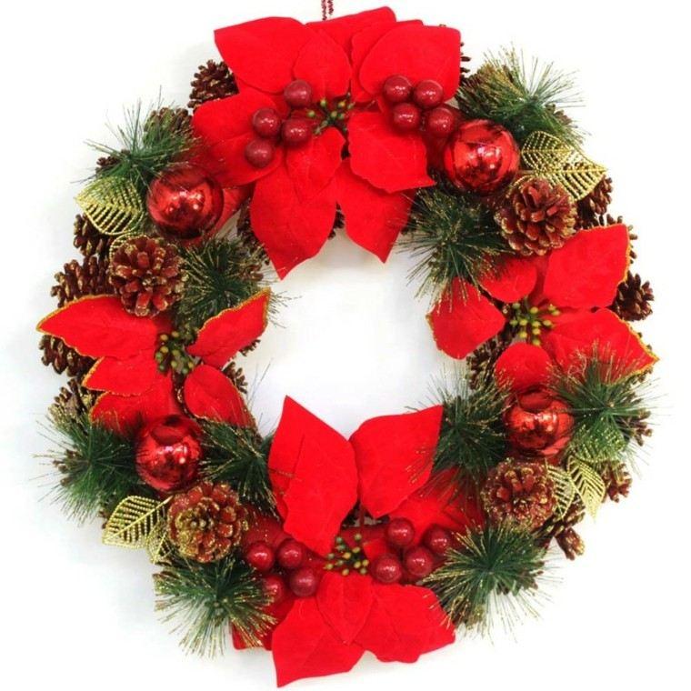 flores navidad rojas guirnalda verde - Guirnalda De Navidad