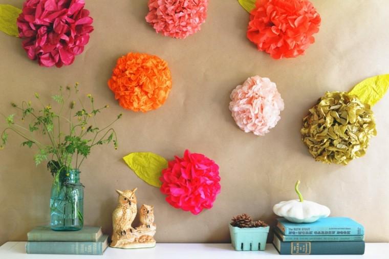 flores papel pegadas colores pared