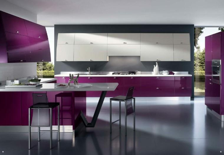 fotos de cocinas modernas moradas lacadas