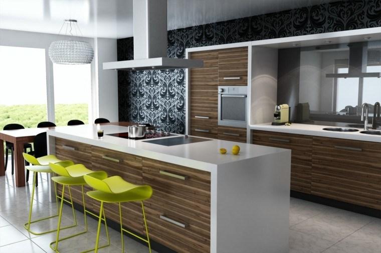 fotos de cocinas modernas sillas verdes