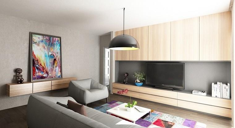 funcionalidad apartamento moderno alfombra cuadro salon ideas