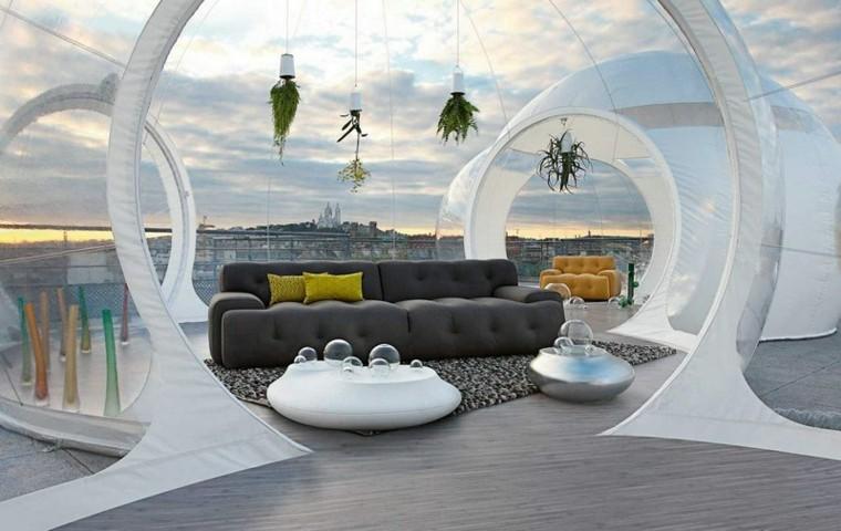 futurista diseño creativo blanco espacio plantas