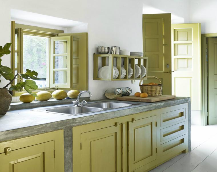 Cocinas pintadas con los colores de moda 50 ideas for Colores para gabinetes de cocina