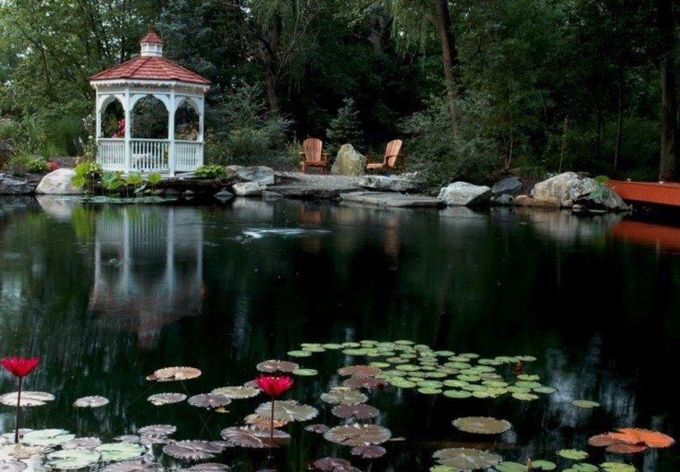 gazebo moderno jardin estanque grande sillones madera ideas