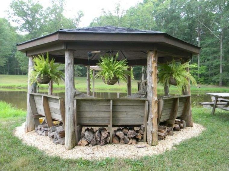 gazebo moderno jardin estilo rustico madera macetas colgando ideas