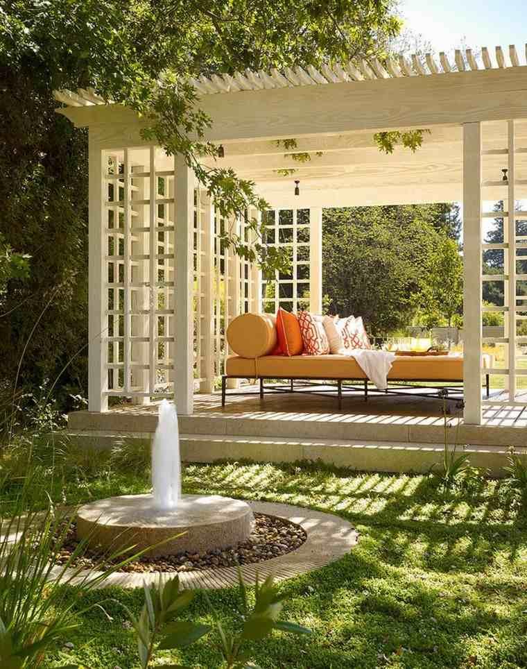 gazebos moderno jardin suelo piedra cama ideas