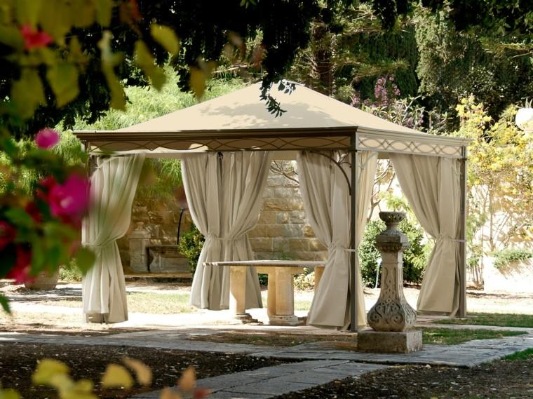 gazebos cortinas beige mesa hormigon jardin ideas