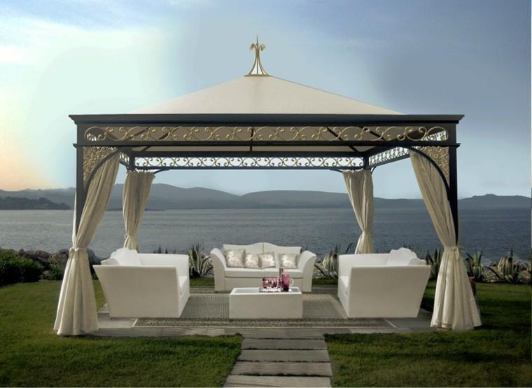 gazebos jardin metal sofas mesa blanca ideas