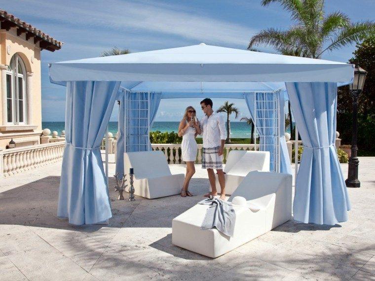 gazebos jardin moderno cortina azul estilo sillones blancos ideas