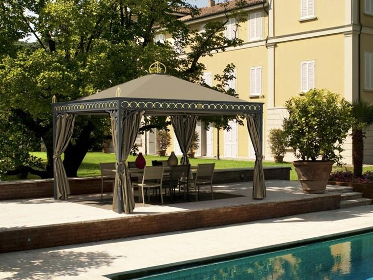 gazebos metal cortinas intimidad marron oscuro jardin ideas